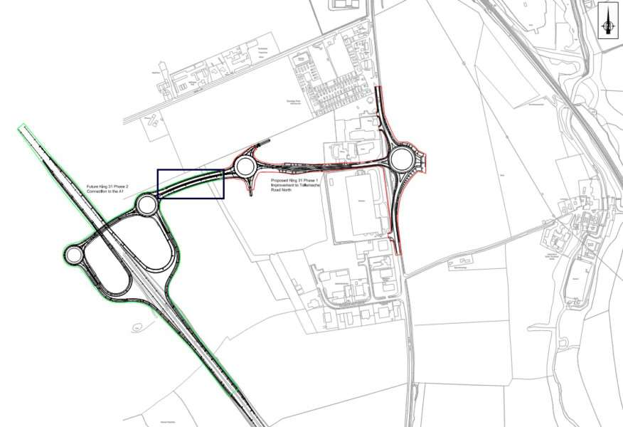 Plans for phases 1 and 2, including where it will link to the A1 in green.