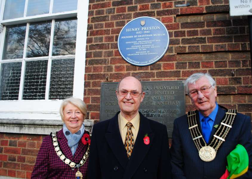 A blue plaque was unveiled in honour of Henry Preston, founder of Grantham Museum, by the Mayor of Grantham, Coun Mike Cook, right, who is pictured with his wife Marjorie and chairman of Grantham Civic Society Courtney Finn.