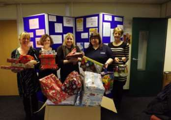 Pictured with gifts from Autocraft are Lynda Coke, Sarah Patel, Michelle Gallagher, all of Home-Start Grantham, Stephanie Alexander (AutoCraft) and Sarah High from Home-Start Grantham.