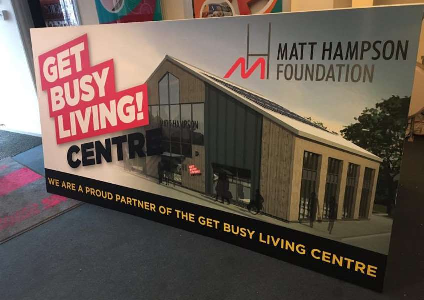 Signage donated by Grantham firm Signs Express to Matt Hampson Foundation's Get Busy Living rehabilitation centre.
