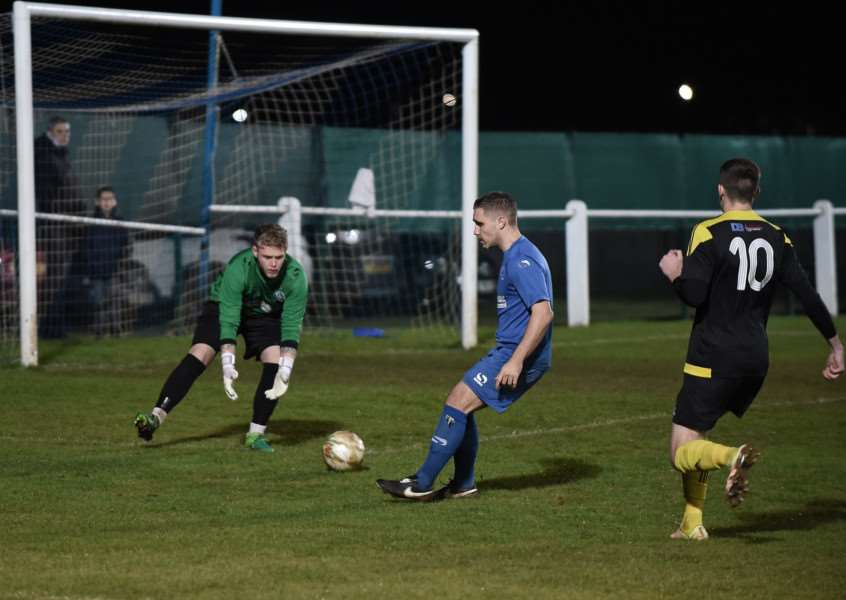 Action from Harrowby United's Knockout Cup encounter at Dickens Road on Tuesday night. Photo: Toby Roberts