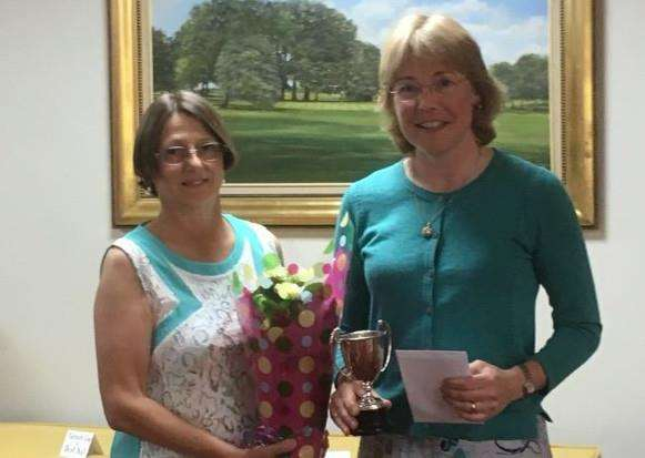 Stoke Rochford lady captain Pauline Haggerty and Turnor Cup winner Louise Bradley (Toft).
