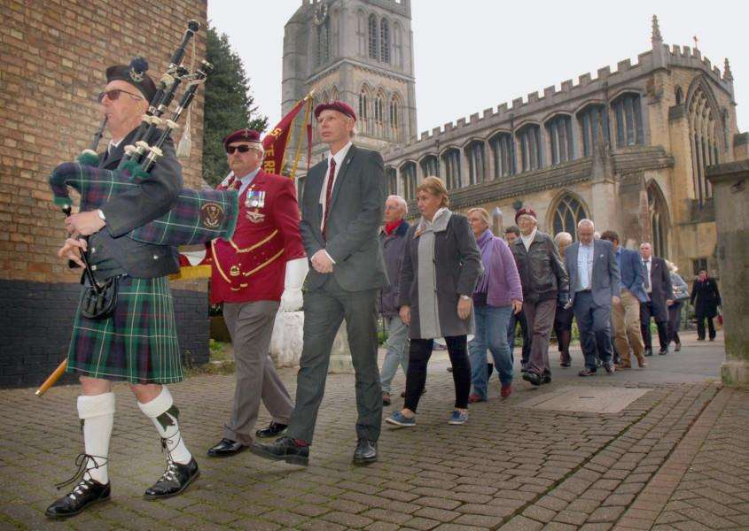 The piper leads away the parade from St.Mary's Church, Melton, to mark the 75th anniversary of the formation of 156 Battalion, the Parachute Regiment EMN-161018-111043001