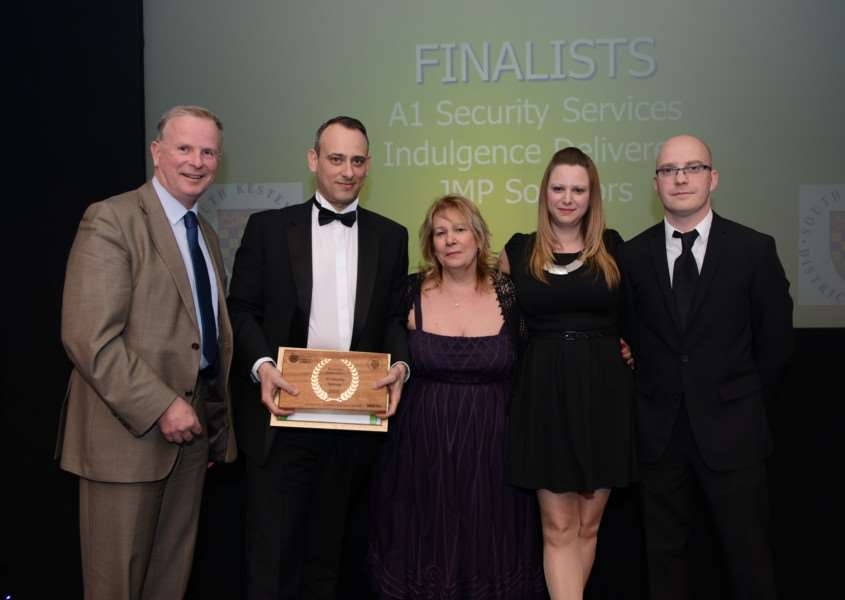 Winners A1 Security Services with Steve Ingram, left, of sponsors South Kesteven District Council.