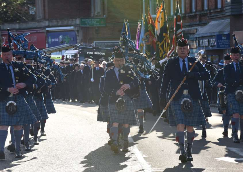 Pipers lead the parade through Grantham on Remembrance Sunday.