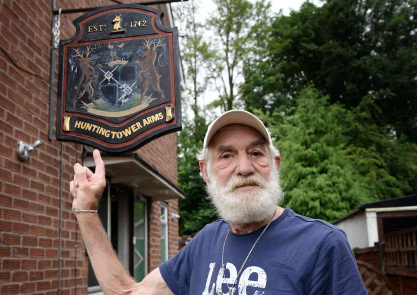 Joe Collier has installed the former Huntingtower Arms pub to the side of his house.