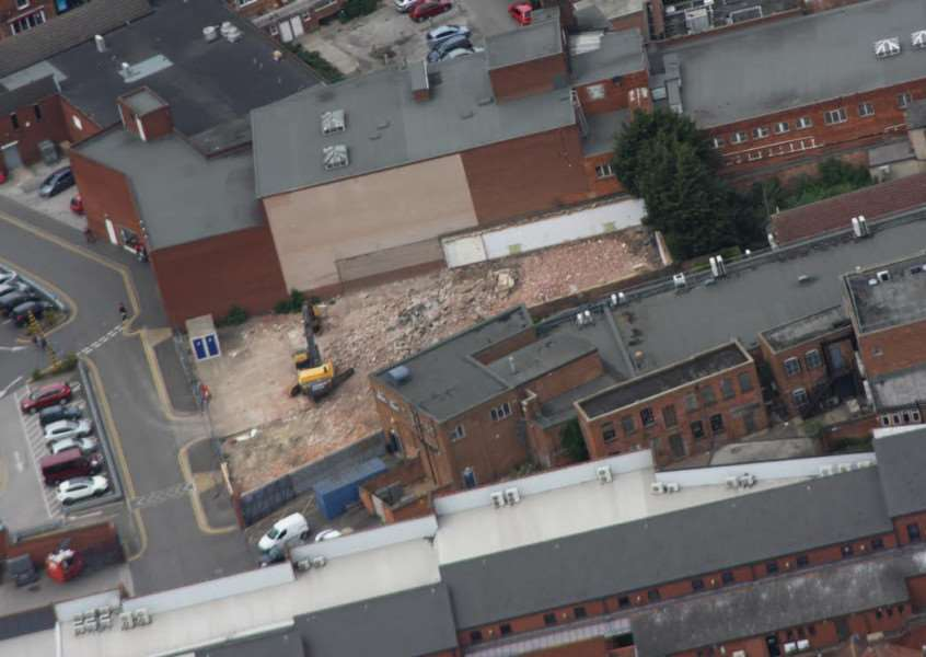 Ged McKnight took this snap from the skies above Grantham. It shows the remains of the former Journal building in Greenwoods Row.