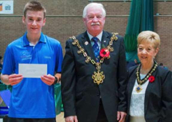 Matt Leete with Mayor and Mayoress of Stockton, Ken and Linda Dixon.