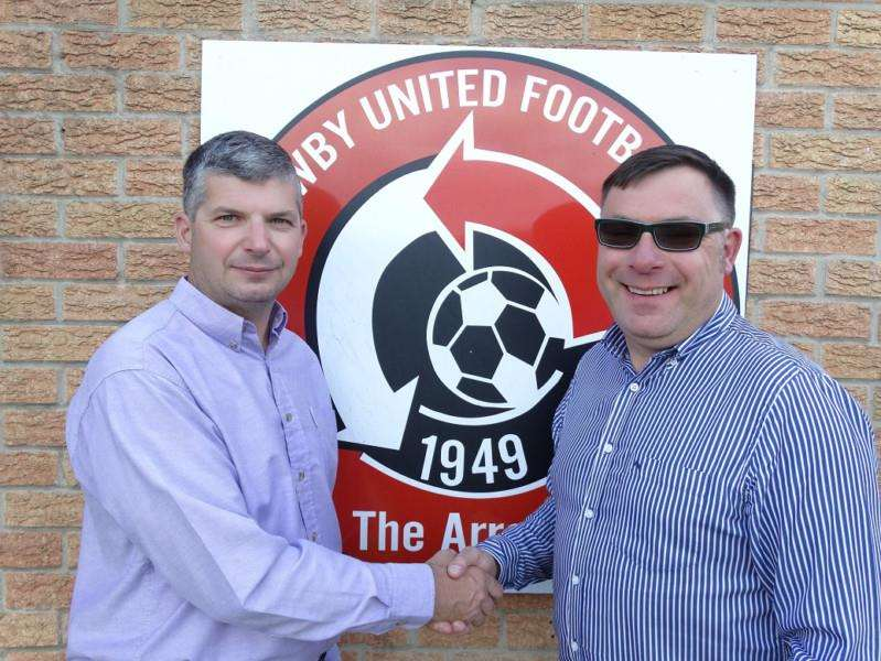 Harrowby United chairman Michael Atter (left) and the club's new commercial manager David Wilkinson.