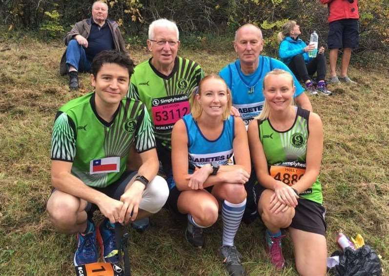 Five of Grantham Running Club's 11-strong contingent at the Great North Run.