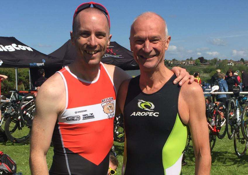 Karl Hunt (left) is pictured with fellow Belvoir Tri Club member Mike Goddard who was competing for Lanark Tri Club on Sunday.