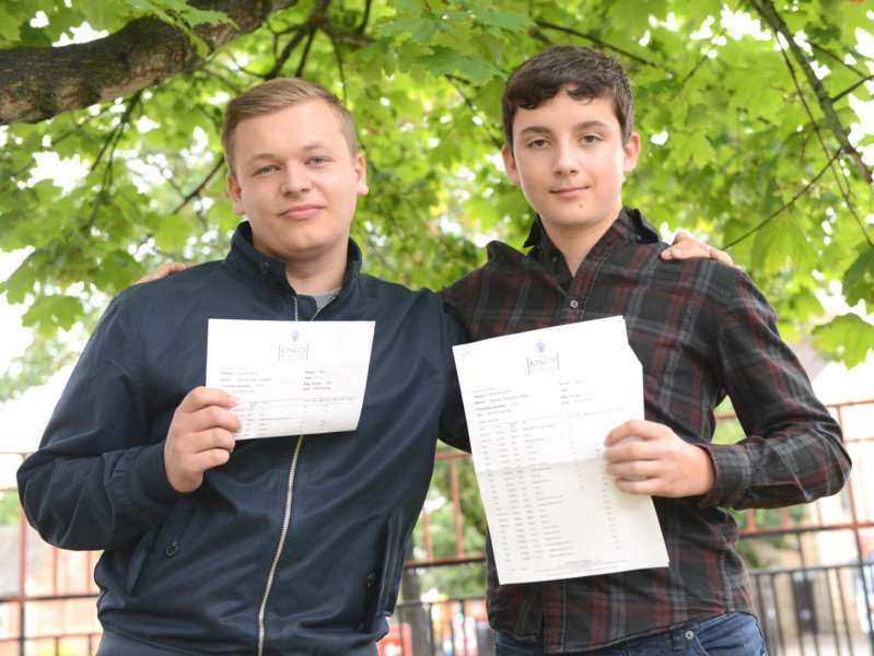 GCSE results at King's. From left - Sam Caldwell and Michael Stokes.'Photo: TRP-25-8-2016-951A (6)